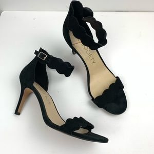 Sole Society Pia Scallop Heels Open Toe Suede Sz 8